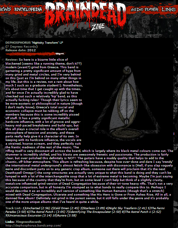 "DEPHOSPHORUS ""Night Sky Transform"" review @ Braindead Zine"