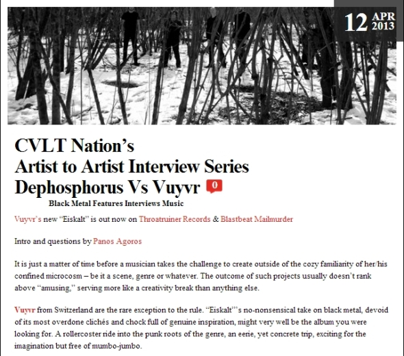 CVLT Nation's  Artist to Artist Interview Series Dephosphorus Vs Vuyvr