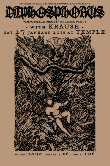 "Poster by Viral Graphics for ""Impossible Orbits"" release gig w/ Krause @ Temple Athens 27/1/18! https://www.facebook.com/events/824278317733218/"